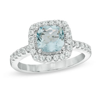 7.0mm Cushion-Cut Lab-Created Blue Spinel and White Sapphire Frame Ring in Sterling Silver - Size 7