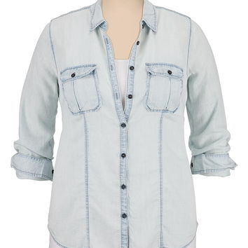lightweight drape button down plus size denim shirt