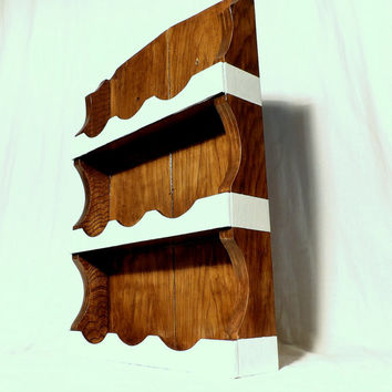 Shot Glass Holder Shooter Shelf Display Case Rack Wood & White Stripe Wall Hanging Cabinet Storage Knick Knack Shelves Small Trinket Holder