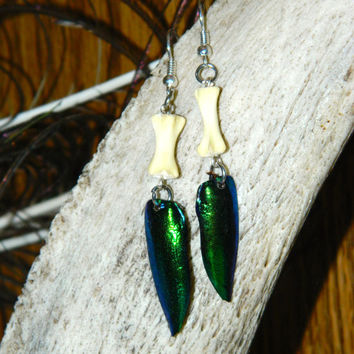 Fairy Tail Earrings - Cat Tail Bone And Jewel Beetle Wings