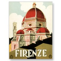 Vintage Travel Poster, Florence, Firenze, Italy Post Cards from Zazzle.com