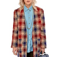 Vilma Contrast Check Print Boyfriend Jacket in Red