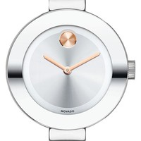 Women's Movado 'Bold' Crystal Accent Bangle Watch, 25mm - Silver
