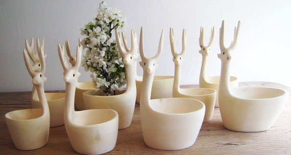 Exquisite HandCarved Deer Bowls Set of 3 by mexchic on Etsy