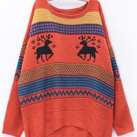 Round Neck Deer Stripe Sweater White Orange$40.00