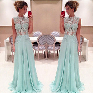 Slim Chiffon Evening Dress High Neck prom party dress Sleeveless Lace Appliques Prom Dress Party…