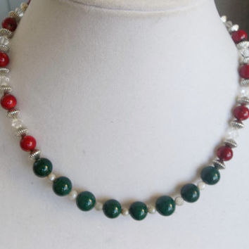 ON SALE Christmas Necklace w/ Red Bamboo Coral, Green Malachite, Swarovski Crystal and Genuine Pearls in Antiqued Silver // 18 inches