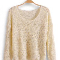 Round Neck Long Sleeve Beige Sweater $39.00