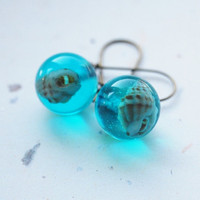 Seashell Earrings Turquoise Mini Resin Globe Aqua Ocean Sea Beach Nautical Transparent Bubble Long Dangle