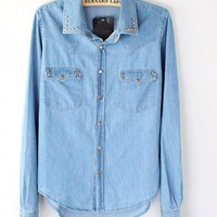 Rivets Lapel Slim Denim Blouse$40.00