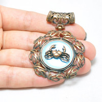 1 Pieces Matte Antique Copper Cancer Pendant, Horoscope Pendant, Jewelry Findings, Bohemian Jewelry