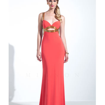 Mignon Tangerine & Gold Low Back Gown Prom 2015
