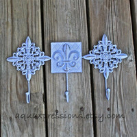 Lilac Metal Wall Hook W/ Fleur de lis Accent