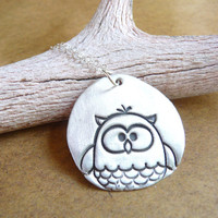 Owl necklace woodland whimsical hand stamped pendant in recycled fine silver