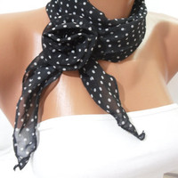 Women Chiffon Scarf - with flower clips- Headband  - New
