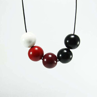 Geometric Round Beads Necklace - Fresh Bright Handmade Necklace - Geometric Jewelry - white, red, burgundy, black