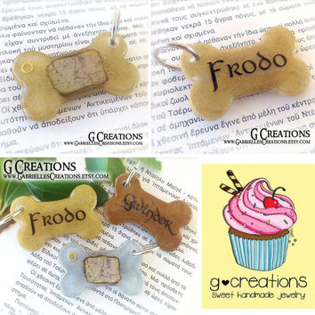 LOTR Dog ID Tag Bone - Map of Middle Earth and The One Ring - Inspired by Lord of the Rings and The Hobbit Handmade Dog Collar Accessory