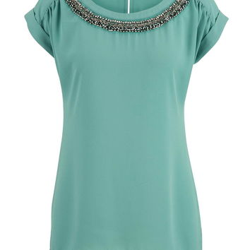 short sleeve chiffon blouse with bead embellishments