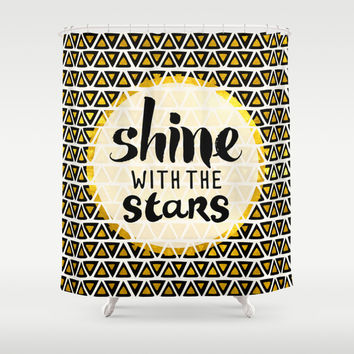 Shine With The Stars Shower Curtain by Pom Graphic Design