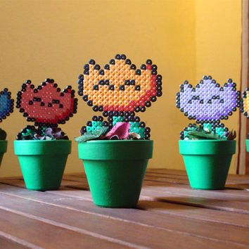 Super Mario inspired Potted Retro Fire Flower. 5 different colors.