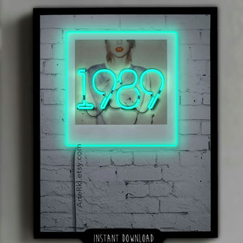 1989, Music, Poster, Gift, Neon, sign, Teen, Room, Decor, Wall, Print, iphone, ipad, Screensaver, Background, Instant Download