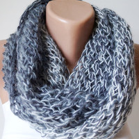 Mohair Multicolor Gray Chunky Cozy Loop Scarf