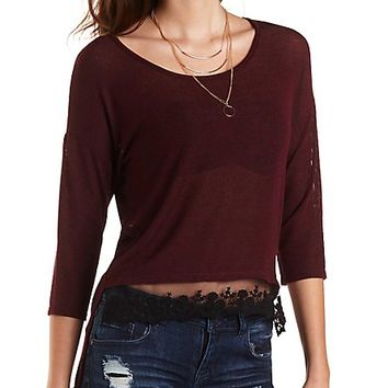 High-Low Ribbed Top with Lace by Charlotte Russe - Oxblood