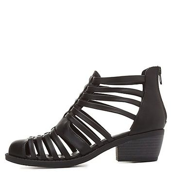 Strappy Closed Toe Sandals by Charlotte Russe - Black