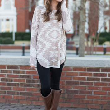 Hypnotic Aztec Top, Taupe/Ivory