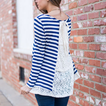 Lines To Lace Top, Navy/Ivory