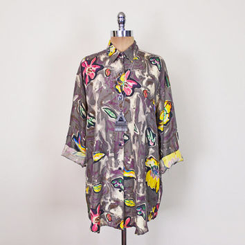 Vintage 80s 90s Abstract Shirt Abstract Print Shirt Floral Shirt Floral Print Blouse 100% Silk Shirt Oversize Shirt Button Up Shirt S M L XL