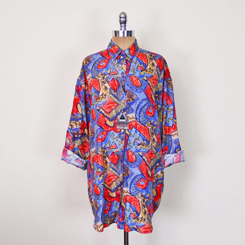 Vintage 80s 90s Red & Blue Abstract Shirt Blouse Top Abstract Print Shirt 100% Silk Shirt Slouchy Oversize Shirt Button Up Shirt S M L XL