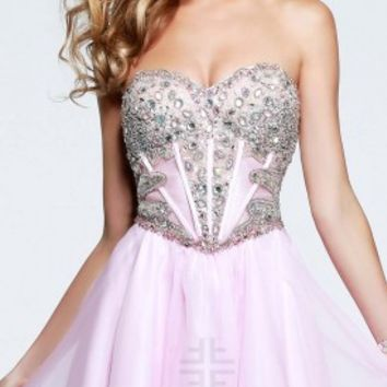 Corset bodice v shaped prom dresses by Faviana