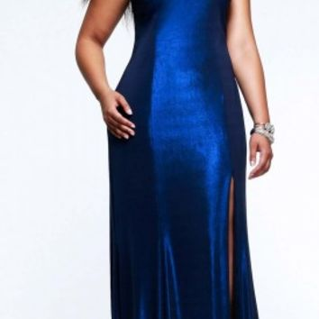 Metallic plus size prom dresses by Faviana