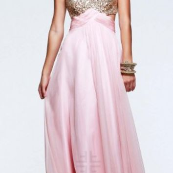 Sequin sash prom dresses by Faviana