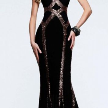 Sequin and jersey prom dresses by Faviana