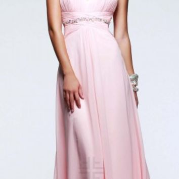 Pleated bodice prom dresses by Faviana