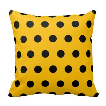 Bright Amber Yellow and Black Polka Dots