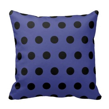 Royal Blue and Black Polka Dots