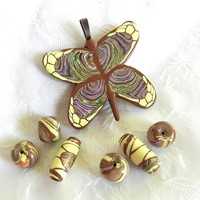 Handmade Jewelry Supplies Colorful Butterfly Pendant, Matching Beads