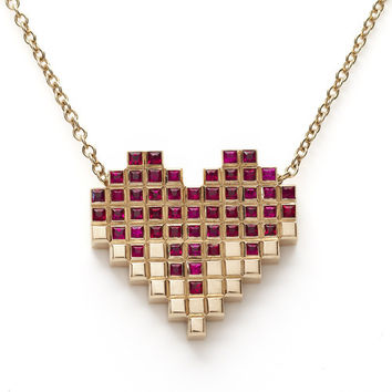 Francesca Grima: NECKLACES: 'Pixel Heart' 51 Ruby Necklace