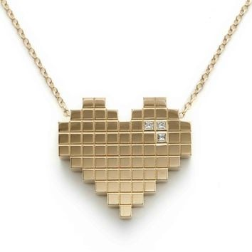 Francesca Grima: NECKLACES: 'Pixel Heart' Necklace in Yellow Gold