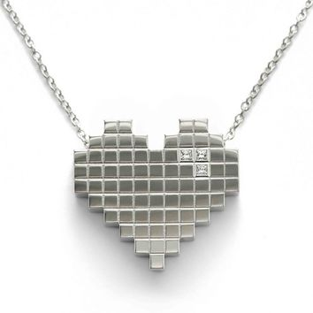Francesca Grima: NECKLACES: 'Pixel Heart' Necklace in White Gold