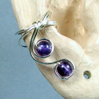 Sterling Silver Ear Cuff Amethyst Elegant Lobe Enhancer Choice of Beads