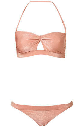 Peach Lurex Bandeau Bikini - Swimwear  - Clothing