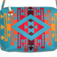 Purse / Shoulder Bag with Zipper Closure XL Pendleton Wool Bright Turquoise Big Sun Southwestern Geometric