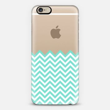 Dipped in Turquoise and White Chevron iPhone 6 case by Organic Saturation | Casetify