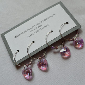 Pink crystal heart wine charms set 4 charms wine glass charms Wine heart charms gift set funny pink wine glass charms pink bottle charms