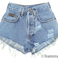 "Hanmattan ""PLAINO"" Levi high waisted denim shorts ALL SIZES blue distressed frayed jeans"
