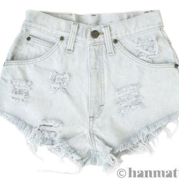 "Hanmattan ""PLAINO"" Levi high waisted denim shorts ALL SIZES blue white distressed frayed jeans"